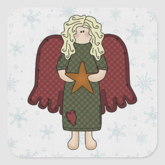 Blonde Angel with Star Square Sticker