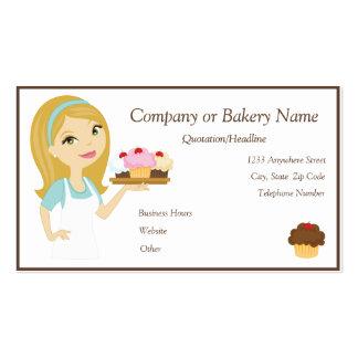 Blonde Aqua Cupcake Baker Bakery 4 Business Card
