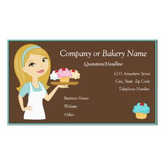 Blonde Aqua Cupcake Baker Bakery Business Card