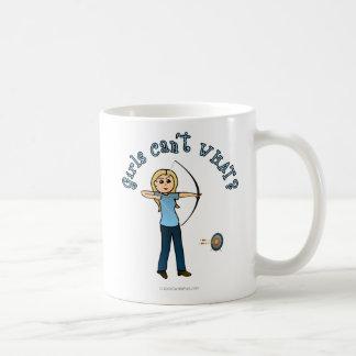 Blonde Archery in Blue Mugs