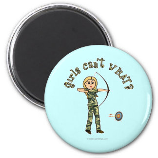 Blonde Archery in Camouflage Refrigerator Magnet