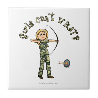 Blonde Archery in Camouflage Tiles