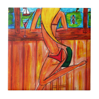 Blonde at the Tiki Bar Small Square Tile