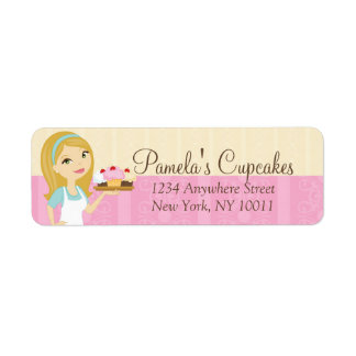 Blonde Baker Cupcake D12 Return Address Labels 2