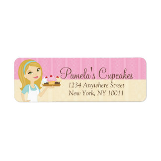 Blonde Baker Cupcake D12 Return Address Labels 3