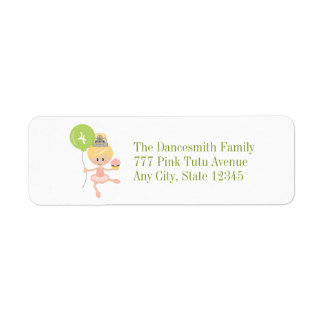 Blonde Ballerina Birthday Return Address Labels