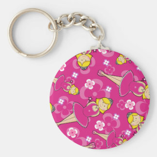 Blonde Ballerina Repeat Pattern Basic Round Button Key Ring