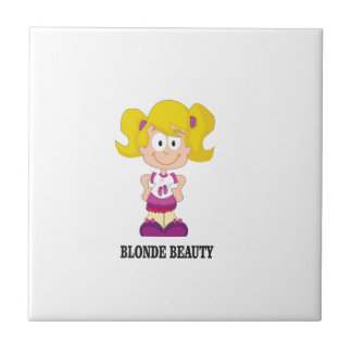 blonde beauty girl small square tile