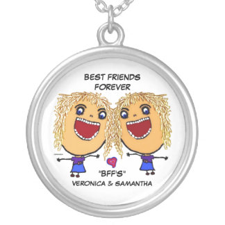 Blonde Best Friends Cartoon Round Pendant Necklace