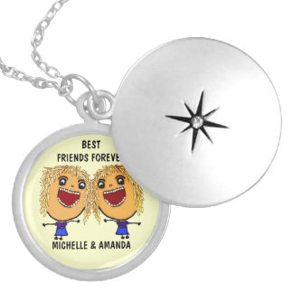 Blonde Best Friends Forever Cartoon Locket Necklace