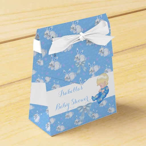 Blonde Boy Baby Shower Blue Cute Baby Bunny Favor Favor Boxes