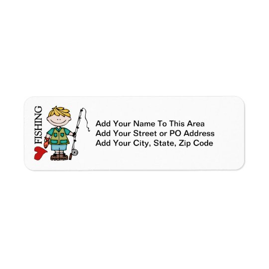 Blonde Boy I Love Fishing Return Address Label