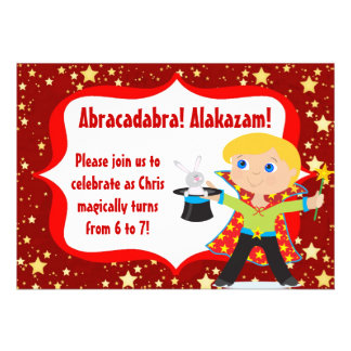 Blonde Boy Magician Birthday Party Invitation