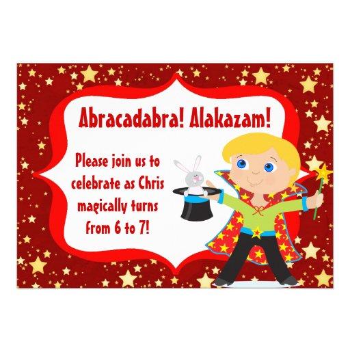 Blonde Boy Magician Birthday Party Invitation