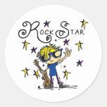 Blonde Boy Rock Star Round Sticker