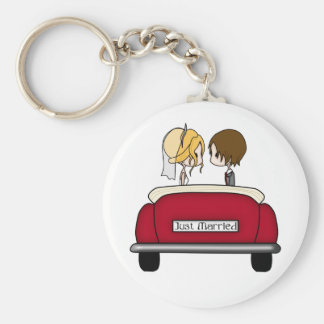 Blonde Bride and Brunette Groom in Red Wedding Car Basic Round Button Key Ring