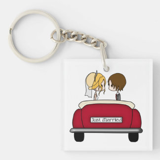 Blonde Bride and Brunette Groom in Red Wedding Car Double-Sided Square Acrylic Key Ring