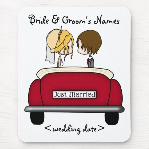 Blonde Bride and Brunette Groom in Red Wedding Car Mousepad