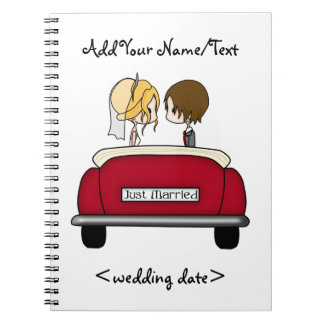 Blonde Bride and Brunette Groom in Red Wedding Car Notebook