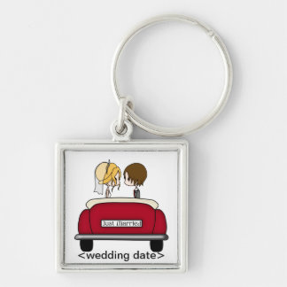 Blonde Bride and Brunette Groom in Red Wedding Car Silver-Colored Square Key Ring