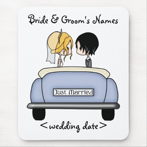 Blonde Bride & Black Haired Groom in Blue Car Mouse Pads