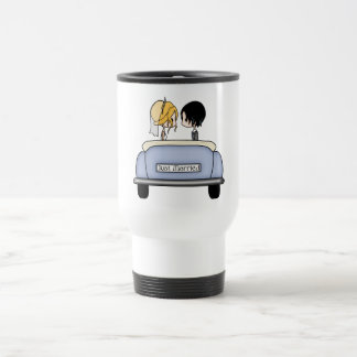 Blonde Bride & Black Haired Groom in Blue Car Travel Mug