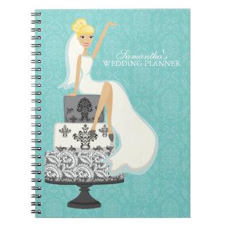 Blonde Bride on Wedding Cake {aqua} Spiral Note Books