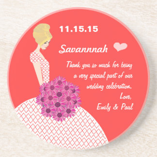 Blonde Bridesmaid Coral & Pink Floral Thank You Coasters