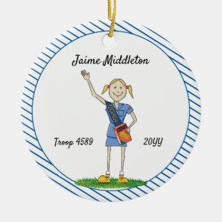 Blonde Cadette Girl Scouting Blue Stripe Ceramic Ornament