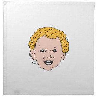 Blonde Caucasian Toddler Head Smiling Drawing Napkin
