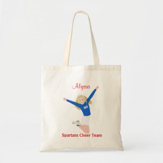 Blonde Cheerleader in Blue and White Tote Bag