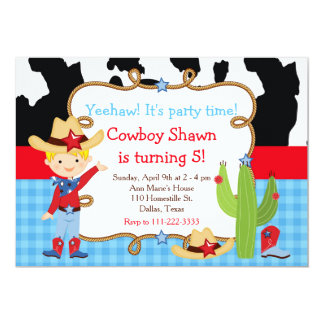 Blonde Cowboy Western Birthday Party Card