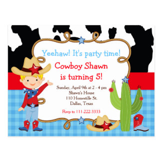 Blonde Cowboy Western Birthday Party Postcard