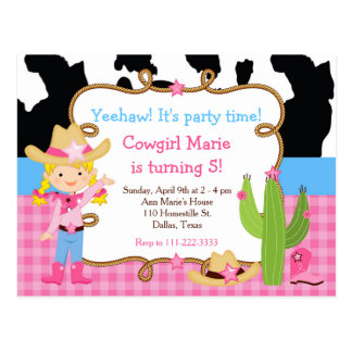Blonde Cowgirl Western Birthday Party Postcard
