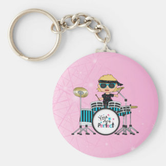 Blonde Drummer Girl with Stars on Pink Basic Round Button Key Ring