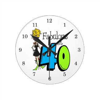Blonde Fabulous at 40 Birthday Wall Clocks