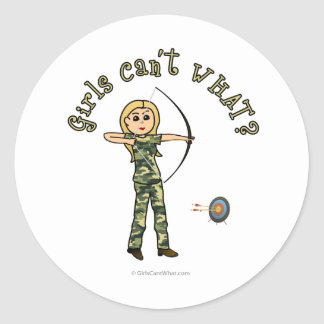 Blonde Female Archery in Camouflage Stickers