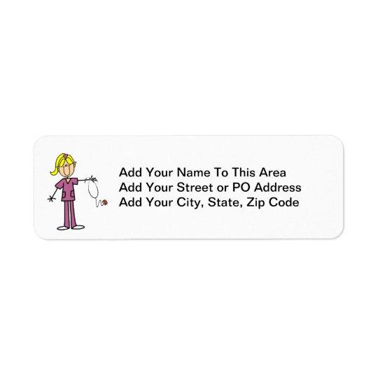 Blonde Female Stick Figure Nurse T-shirts Return Address Label