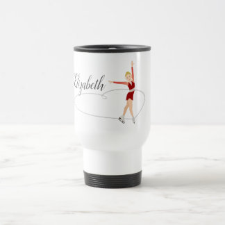 Blonde Figure Skater Personalized Travel Mug