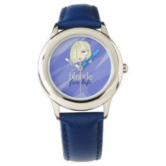 Blonde For Life Blue Simple Adorable Sketch Cool Watch