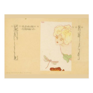 Blonde Girl and Dragonfly Postcard