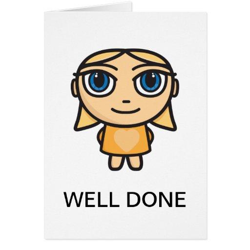 E Card Cartoon Characters : Blonde girl cartoon character well done card zazzle
