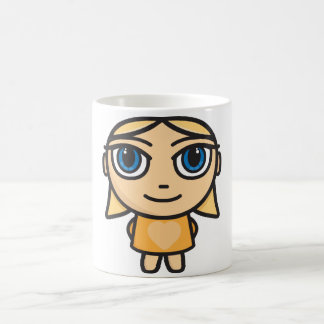 Blonde Girl Character in Yellow Mug