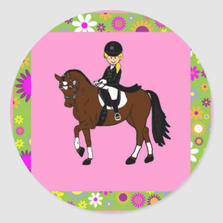 Blonde girl dressage horse rider caricature classic round sticker