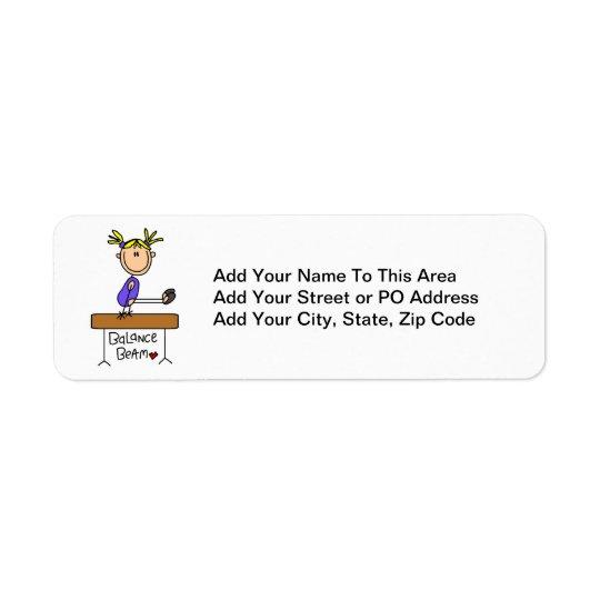 Blonde Girl Gymnast on Balance Beam Return Address Label
