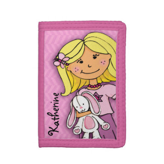Blonde girl & lucky white bunny pink named purse trifold wallet