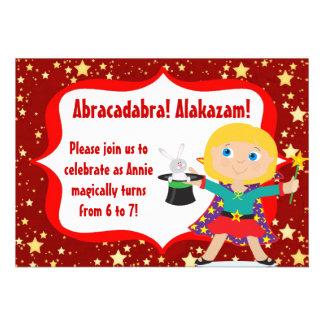 Blonde  Girl Magician Birthday Party Invitation