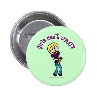 Blonde Girl Playing Saxophone 6 Cm Round Badge
