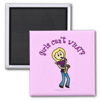 Blonde Girl Playing Saxophone Fridge Magnets