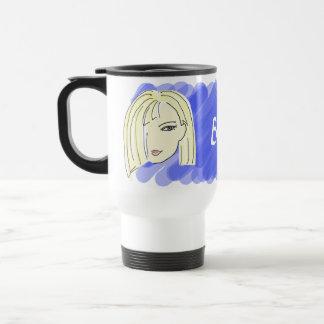 Blonde Girl Portrait Cartoon Blue Personalized Travel Mug